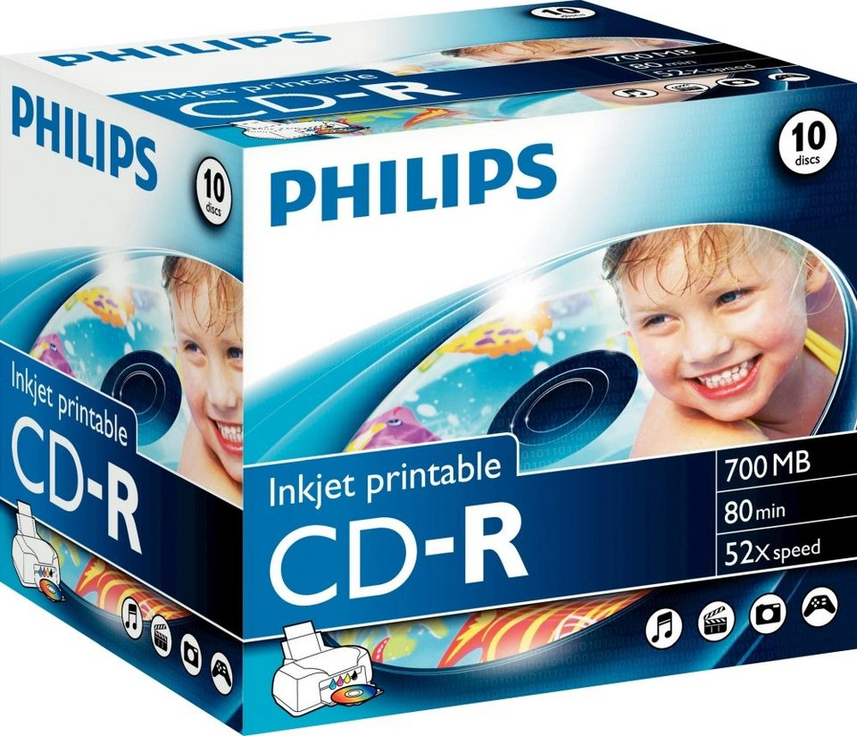 Philips CD-R 80Min/700MB/52x Jewelcase (10 Disc) in white