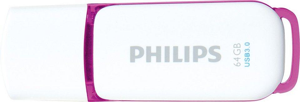 Philips USB 3.0 Stick 64GB, Snow Edition, White, Purple in white