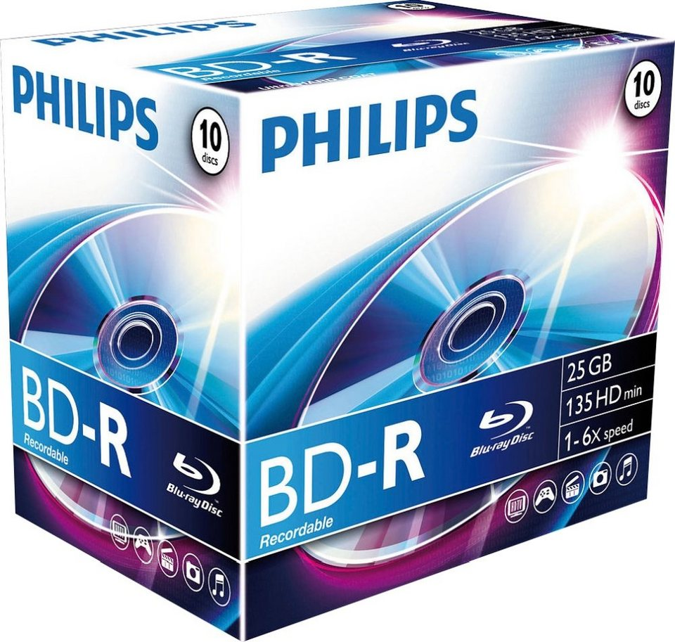 Philips BD-R 25GB/1-6x Jewelcase (10 Disc) in silver