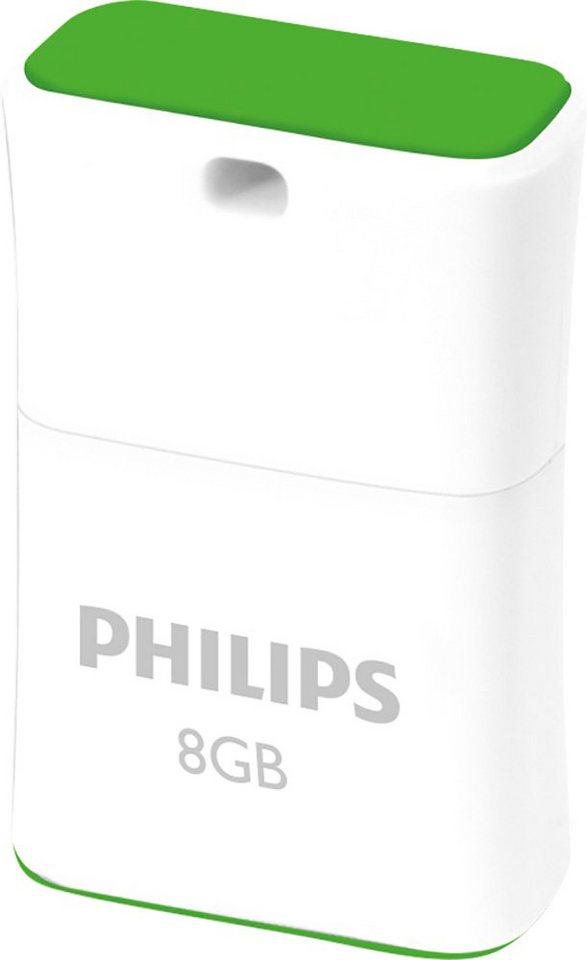 Philips USB 2.0 Stick 8GB, Pico Edition, White, Green in white