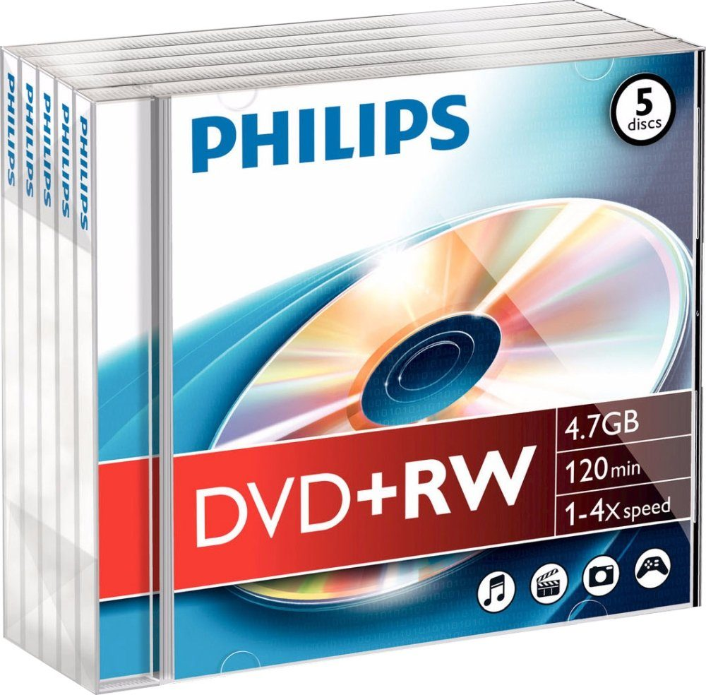 Philips DVD+RW 4.7GB/120Min/4x Jewelcase (5 Disc)
