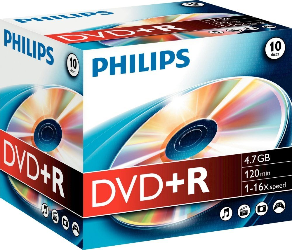 Philips DVD+R 4.7GB/120Min/16x Jewelcase (10 Disc)