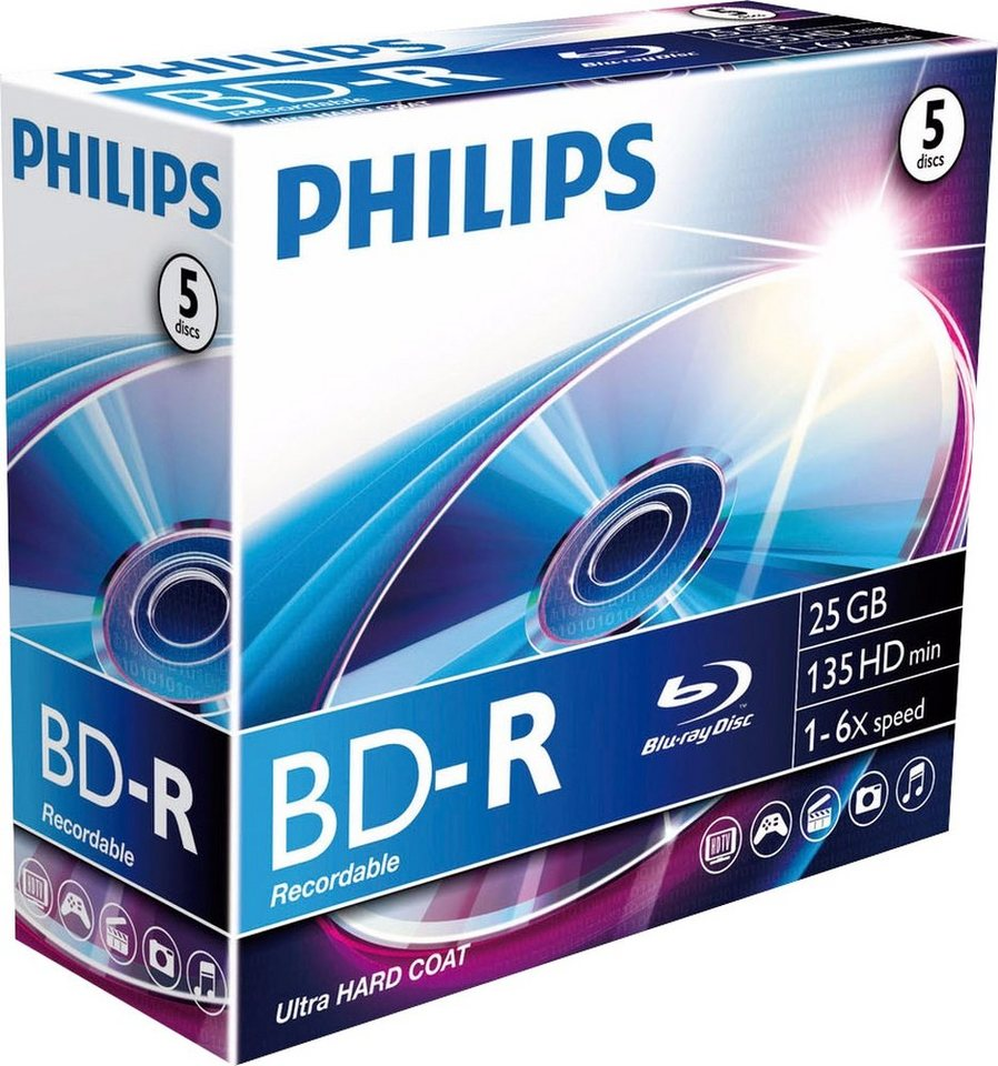 Philips BD-R 25GB/1-6x Jewelcase (5 Disc) in silver
