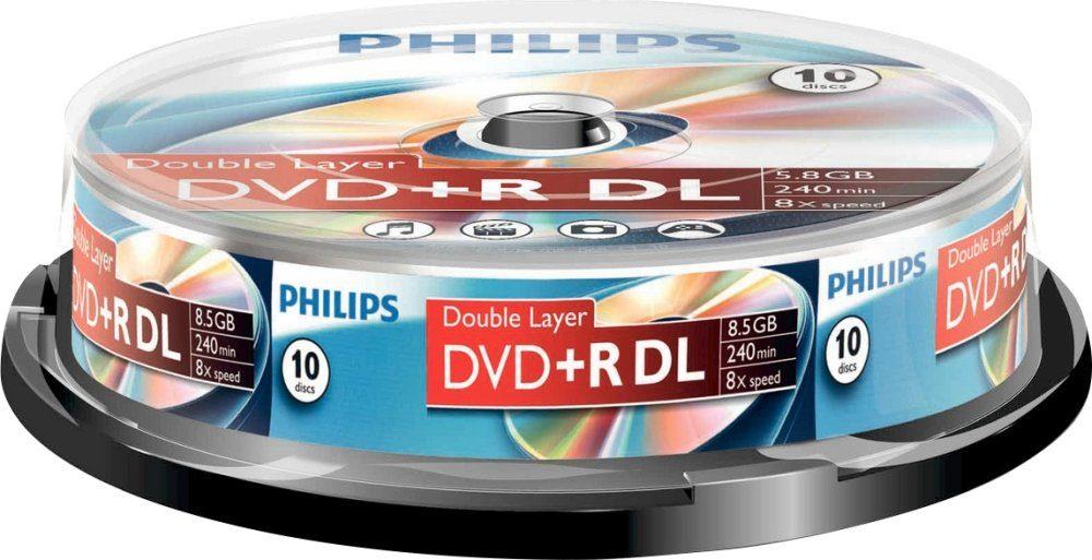 Philips DVD+R DL 8.5GB/240Min/8x Cakebox (10 Disc)