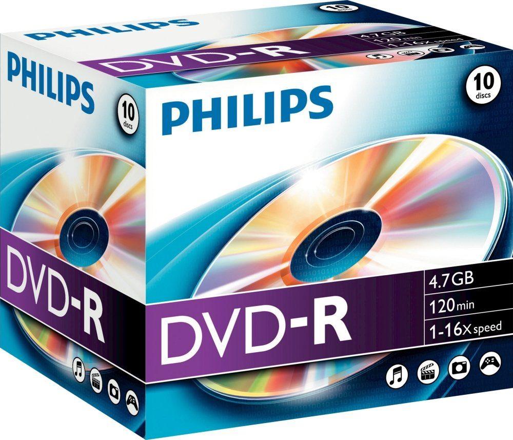 Philips DVD-R 4.7GB/120Min/16x Jewelcase (10 Disc)