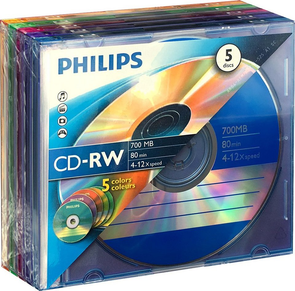 Philips CD-RW 80Min/700MB/4-12x Slimcase Colour (5 Disc) in silver