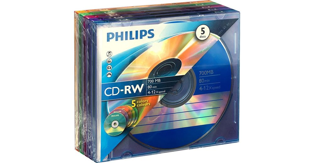 Philips CD-RW 80Min/700MB/4-12x Slimcase Colour (5 Disc)