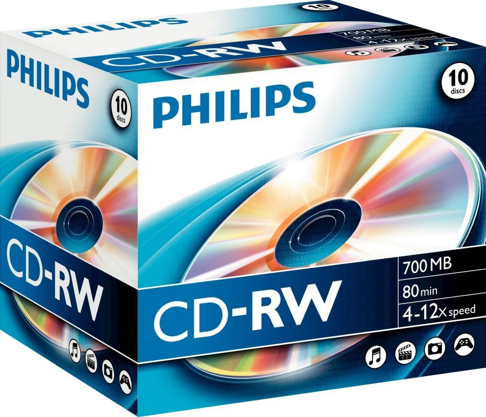 Philips CD-RW 80Min/700MB/4-12x Jewelcase (10 Disc)