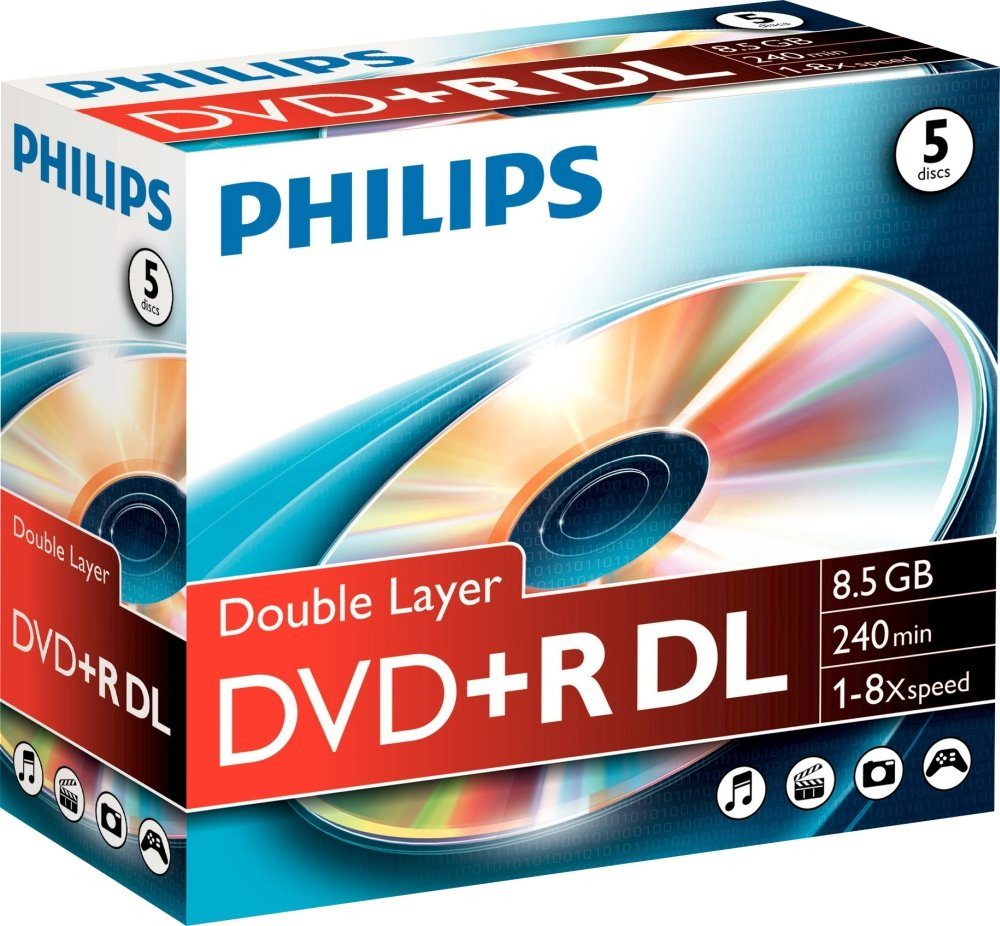 Philips DVD+R DL 8.5GB/240Min/8x Jewelcase (5 Disc)