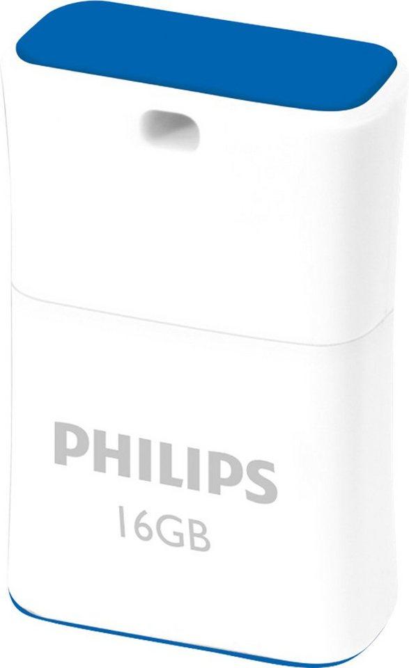 Philips USB 2.0 Stick 16GB, Pico Edition, White, Blue in white