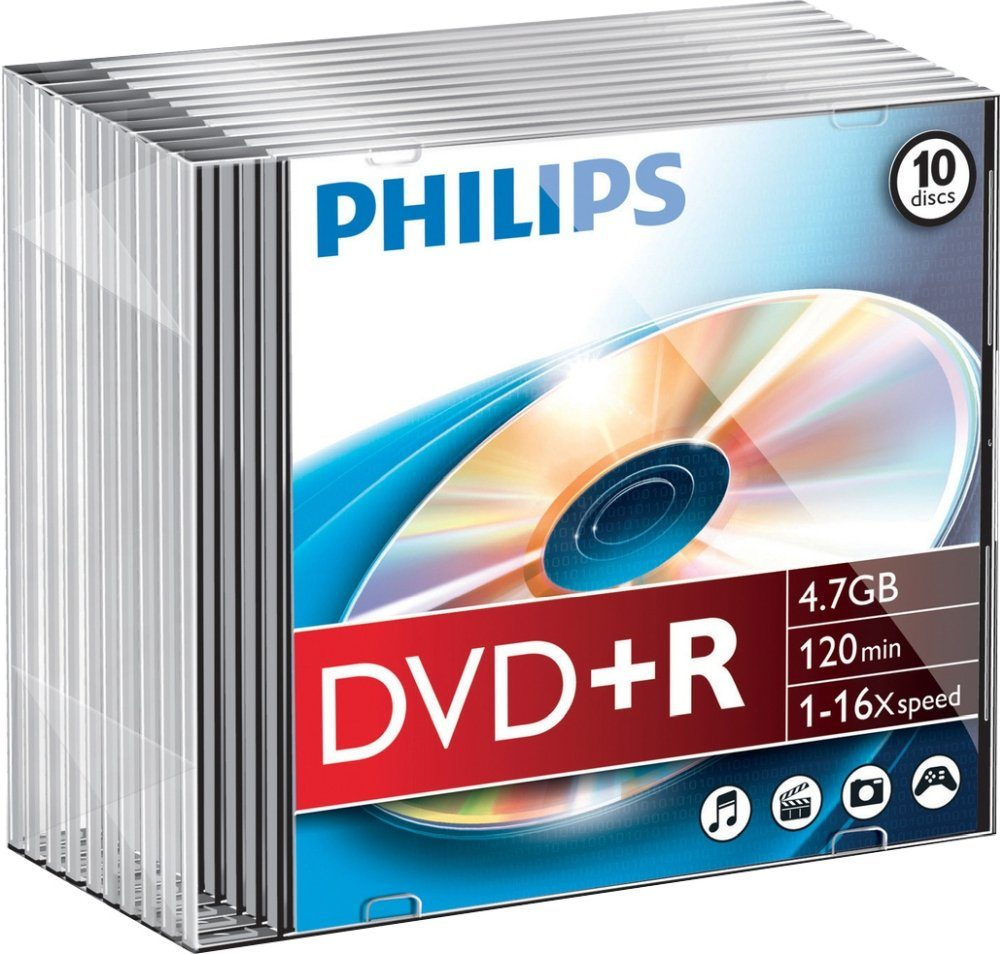 Philips DVD+R 4.7GB/120Min/16x Slimcase (10 Disc)