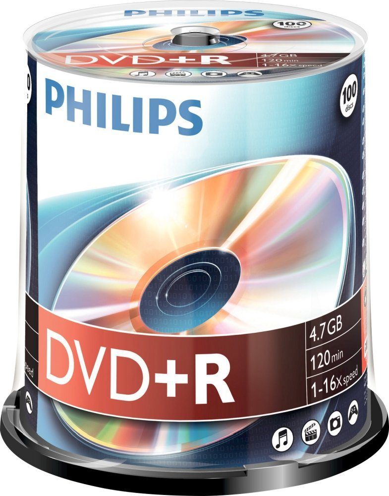 Philips DVD+R 4.7GB/120Min/16x Cakebox (100 Disc)