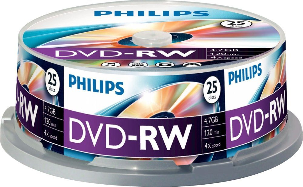 Philips DVD-RW 4.7GB/120Min/4x Cakebox (25 Disc)