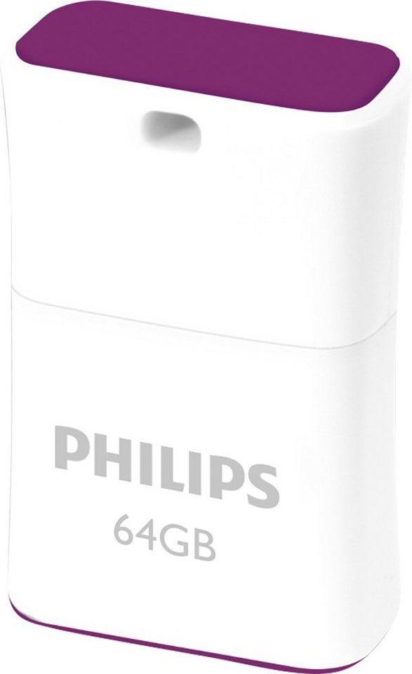 Philips USB 2.0 Stick 64GB, Pico Edition, White, Purple in white