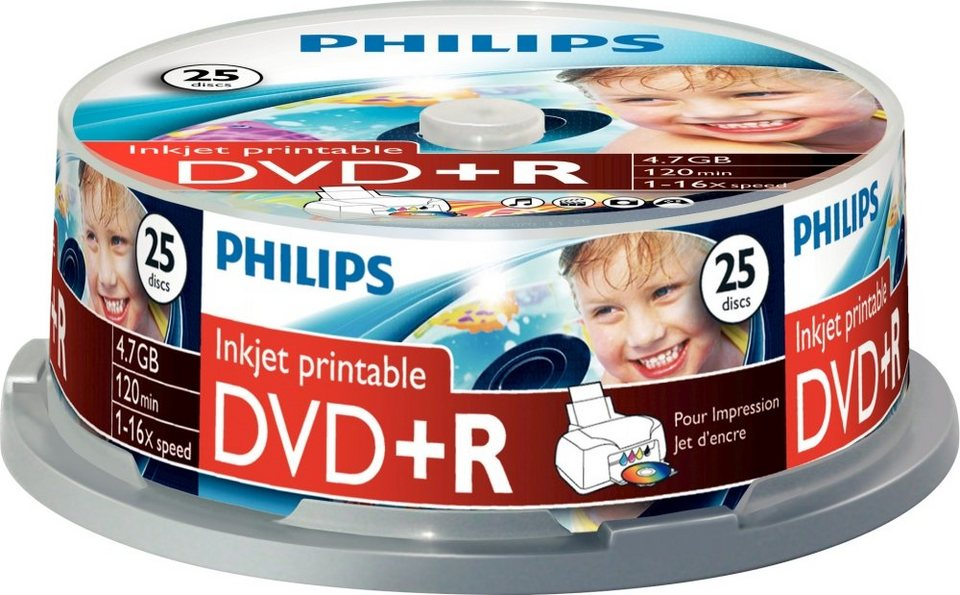 Philips DVD+R 4.7GB/120Min/16x Cakebox (25 Disc)
