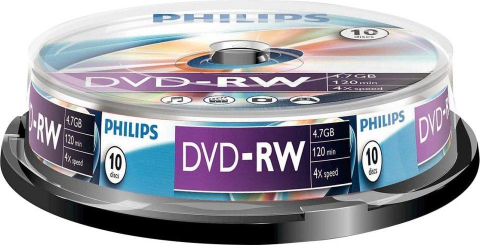 Philips DVD-RW 4.7GB/120Min/4x Cakebox (10 Disc)
