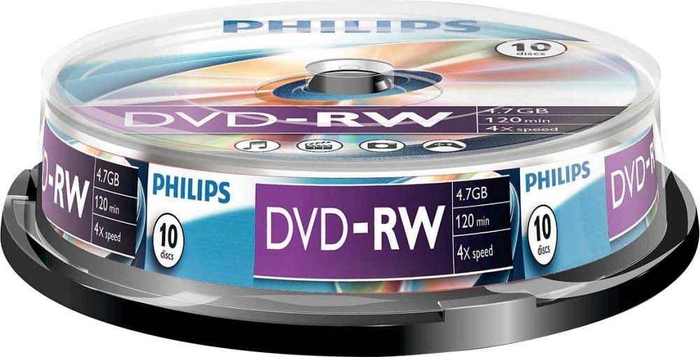 Philips DVD-RW 4.7GB/120Min/4x Cakebox (10 Disc)