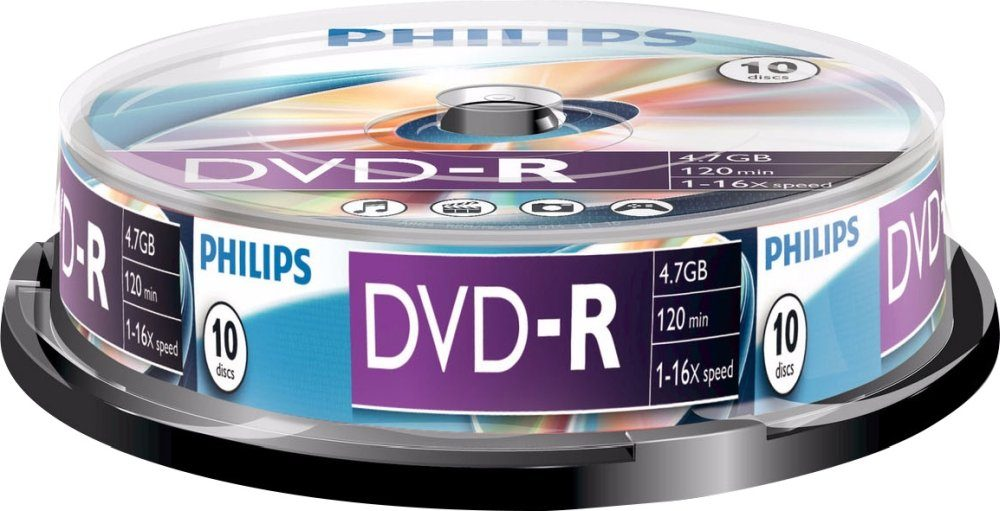 Philips DVD-R 4.7GB/120Min/16x Cakebox (10 Disc)