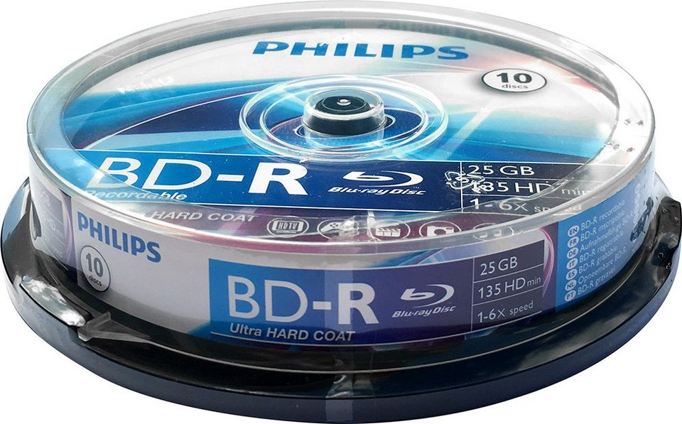 Philips BD-R 25GB/1-6x Cakebox (10 Disc) in silver