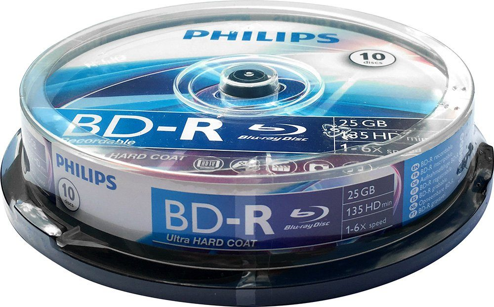 Philips BD-R 25GB/1-6x Cakebox (10 Disc)
