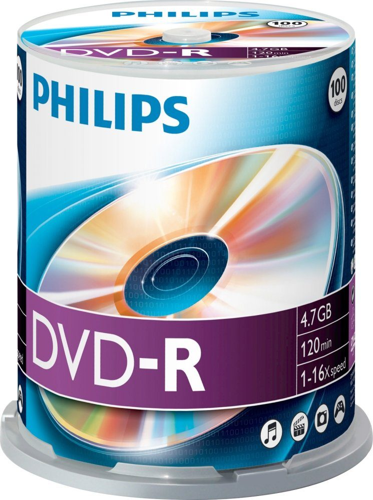 Philips DVD-R 4.7GB/120Min/16x Cakebox (100 Disc)