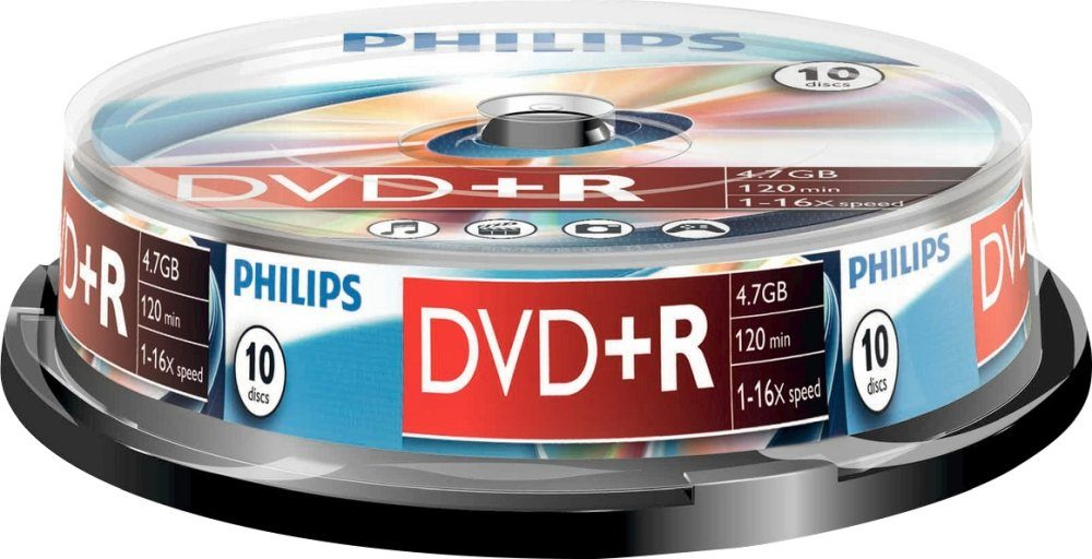 Philips DVD+R 4.7GB/120Min/16x Cakebox (10 Disc)