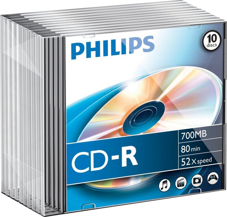 Philips CD-R 80Min/700MB/52x Slimcase (10 Disc) in silver