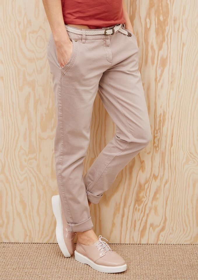 s.Oliver RED LABEL Smart Chino: Hose mit Flechtgürtel  in washed rusty red