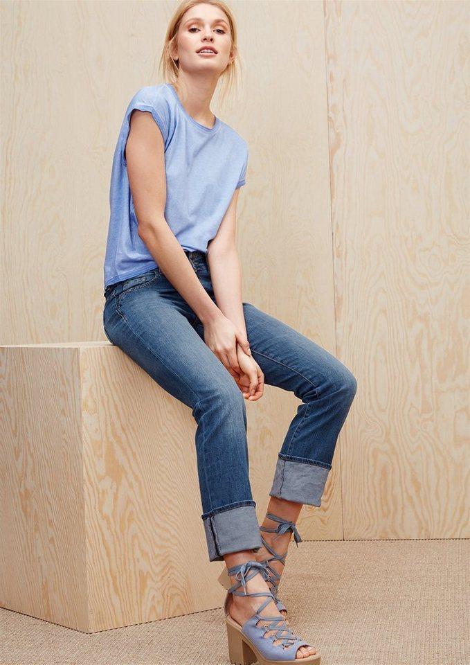 s.Oliver RED LABEL Smart Straight: Jeans mit Doppelknopf in blue denim stretch