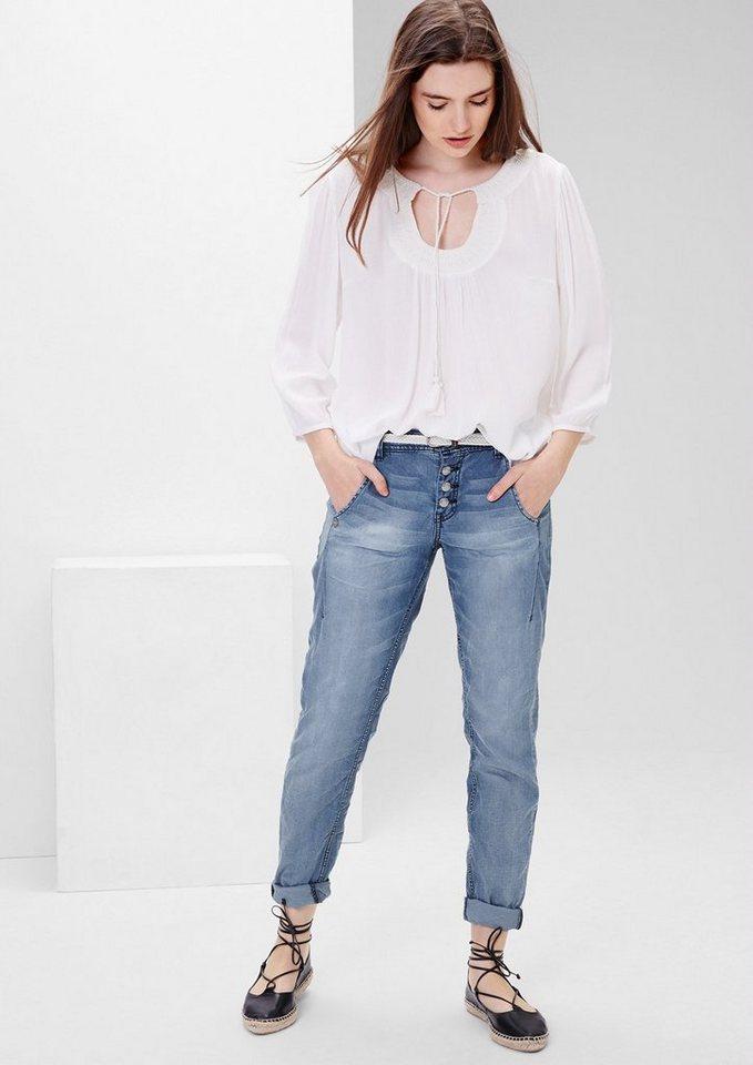 s.Oliver RED LABEL Smart Chino: Jeans mit Flechtgürtel in middle blue denim st