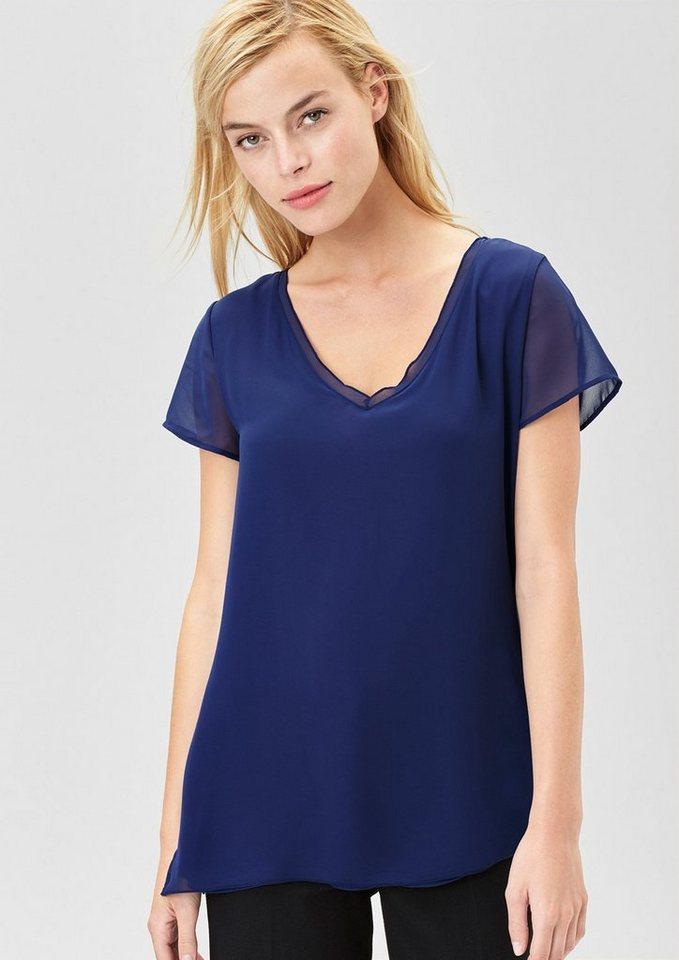 s.Oliver BLACK LABEL Double Layer-Blusenshirt in fantastic blue