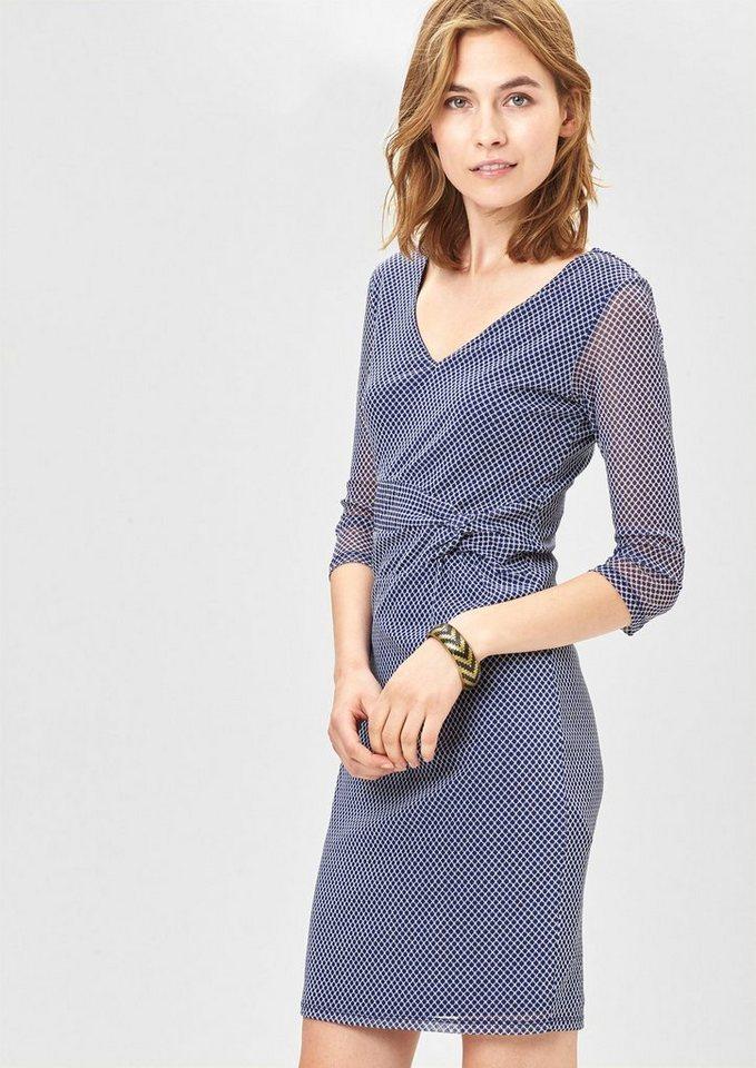 s.Oliver BLACK LABEL Leichtes Mesh-Kleid mit Drapierung in blue AOP