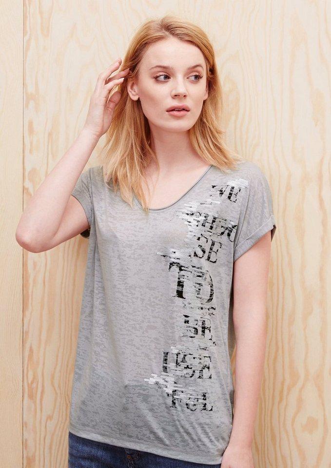 s.Oliver RED LABEL Ausbrenner-Shirt mit Print und Pailletten in platinum placed prin