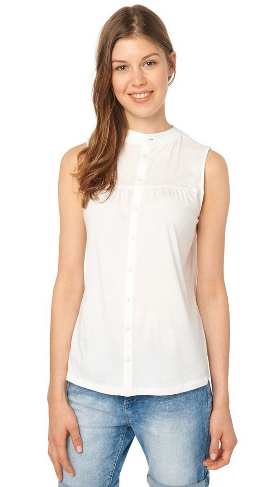 TOM TAILOR DENIM T-Shirt »blouse top w. button placket« in off white