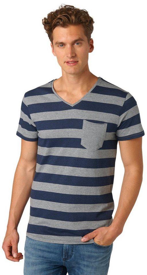 TOM TAILOR DENIM T-Shirt »striped melange tee« in heather grey melange
