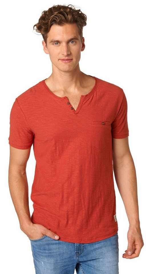 TOM TAILOR DENIM T-Shirt »fein strukturiertes Serafino-Shirt« in burned red slate