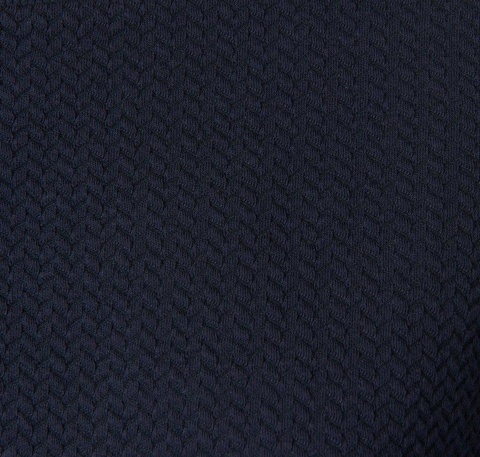 TOM TAILOR DENIM Sweatshirt »strukturierter Sweater mit Raffung« in sky captain blue