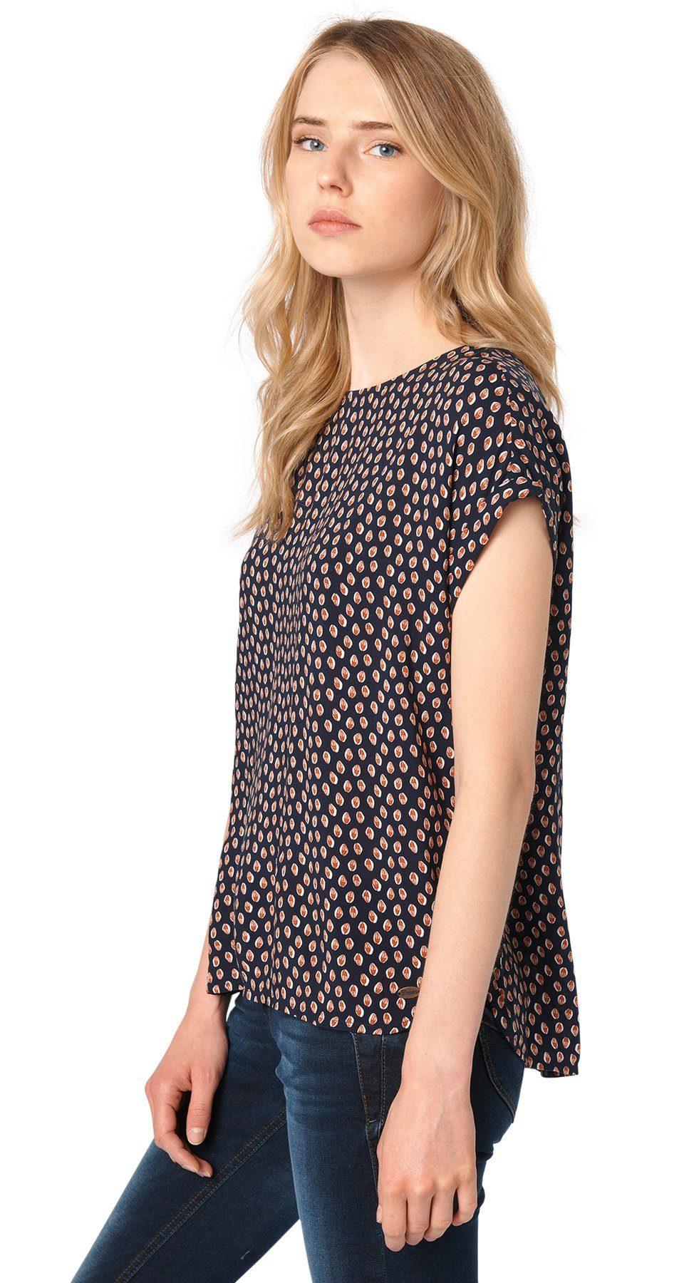 TOM TAILOR DENIM Bluse »Allover-Print Shirt mit Zipper«