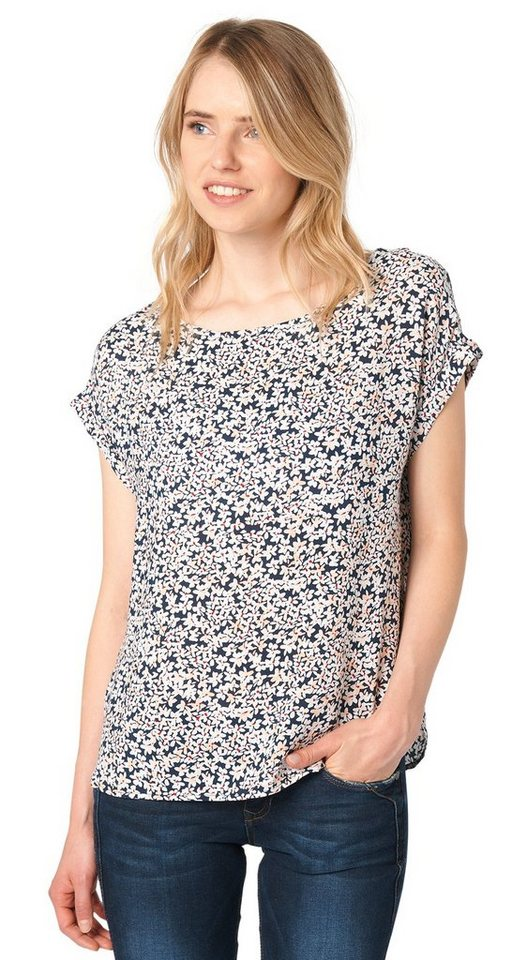 TOM TAILOR DENIM Bluse »Allover-Print Shirt mit Zipper« in sky captain blue