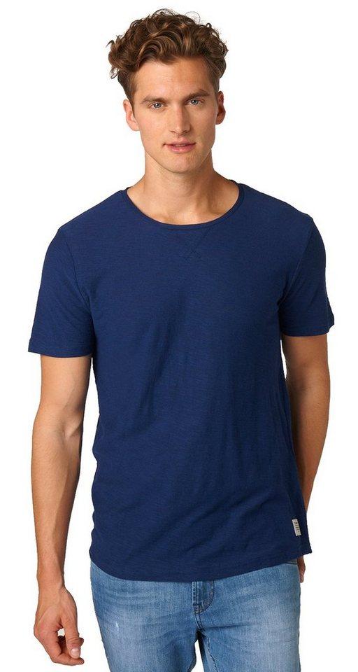 TOM TAILOR DENIM T-Shirt »fein strukturiertes T-Shirt« in cosmos blue