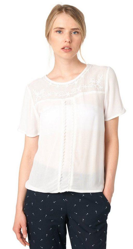 TOM TAILOR DENIM T-Shirt »feminines Shirt mit Stickerei« in off white