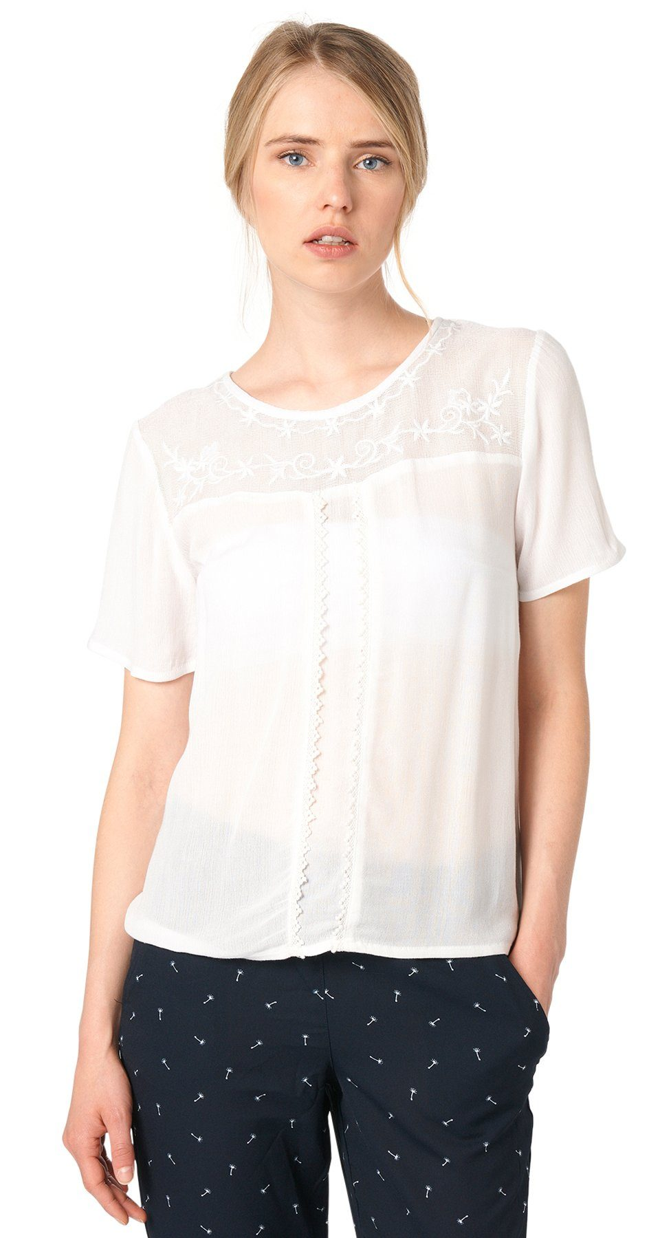 TOM TAILOR DENIM T-Shirt »feminines Shirt mit Stickerei«