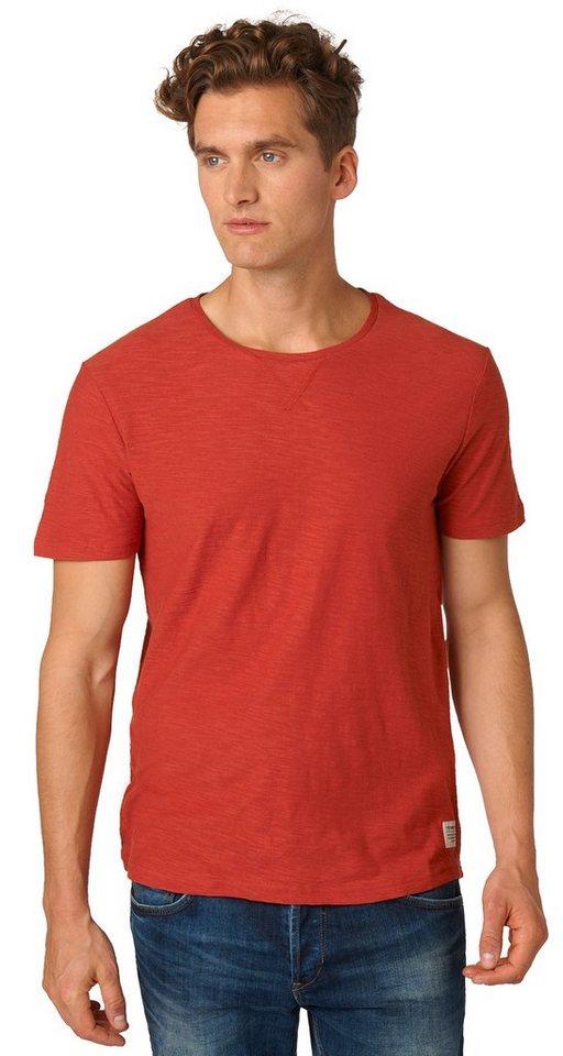 TOM TAILOR DENIM T-Shirt »fein strukturiertes T-Shirt« in burned red slate