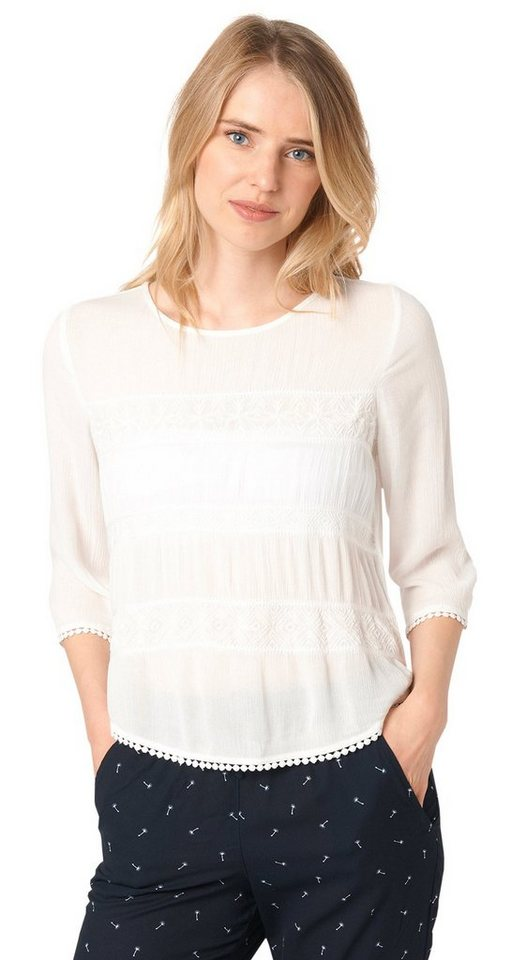 TOM TAILOR DENIM Bluse »loose fitted embroidered tunic« in off white