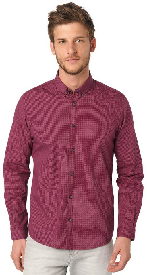 TOM TAILOR Hemd »Button-Down-Hemd mit Allover-Print« in tile red