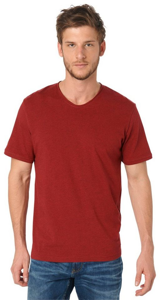 TOM TAILOR T-Shirt »basic deep crew tee« in burning red melange