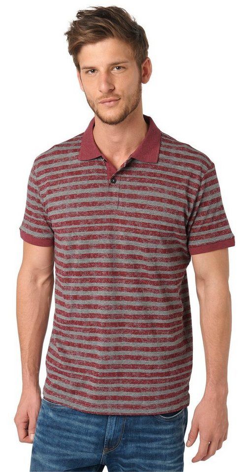 TOM TAILOR Poloshirt »gestreiftes Polo-Shirt« in tile red
