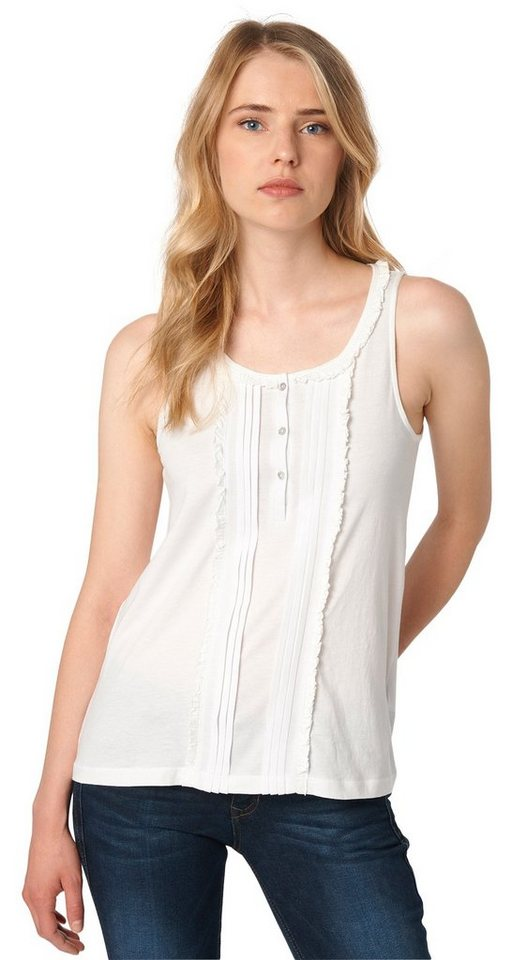 TOM TAILOR DENIM T-Shirt »feminines Top mit Rüschen« in off white