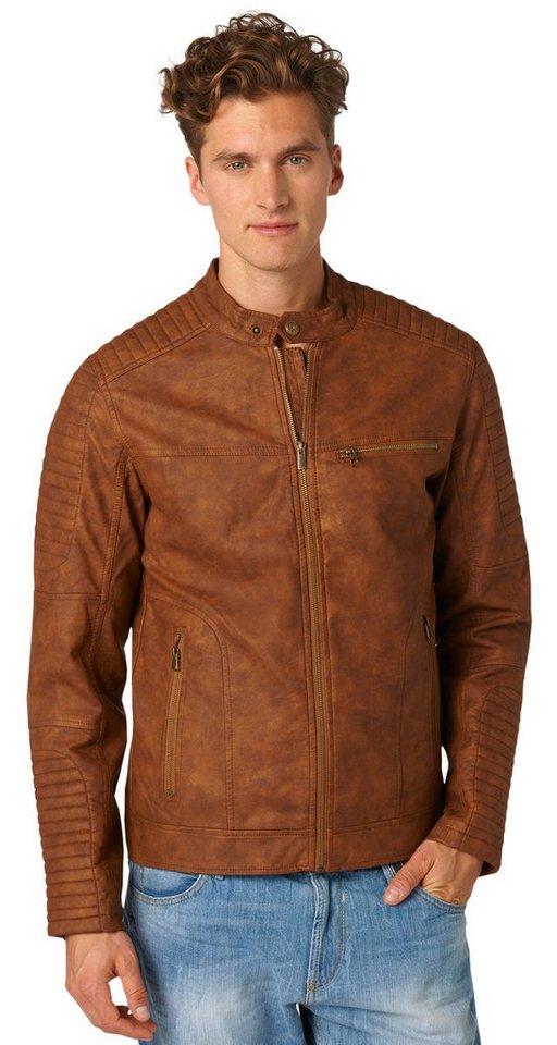 TOM TAILOR DENIM Lederjacke »biker leather look jacket« in rich cinnamon