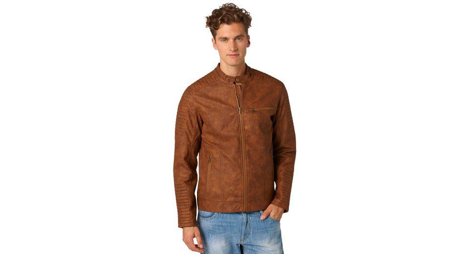 TOM TAILOR DENIM Lederjacke »biker leather look jacket«